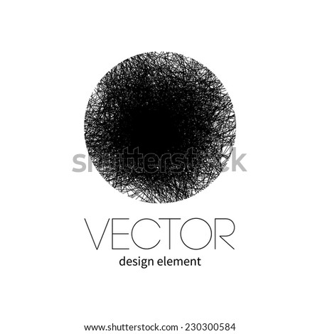 Pencil drawn circle. Vector design element .  - stock vector