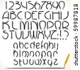 Pencil drawn vector alphabet- MORE FONTS AT MY GALLERY - stock vector