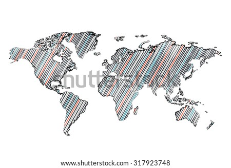 Pencil drawn world map. Easy to change colors. - stock vector