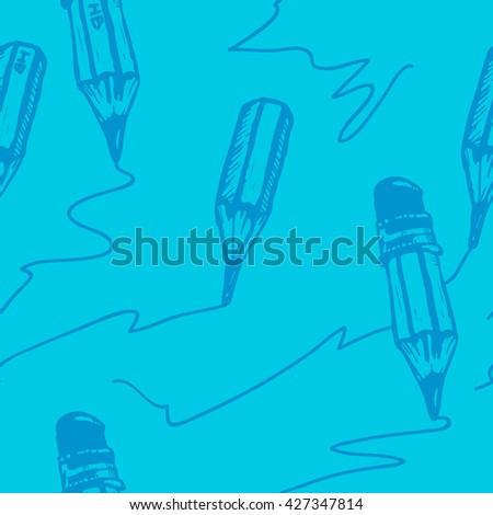 Pencil draws a line. Seamless vector pattern. Pencil pattern. Pencil seamless pattern. Pencil background. Pencil wallpaper. Pencil seamless. Cartoon pencil pattern. Blue background - stock vector