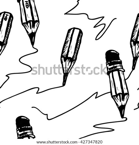 Pencil draws a line. Seamless vector pattern. Pencil pattern. Pencil seamless pattern. Pencil background. Pencil wallpaper. Pencil seamless. Cartoon pencil pattern. Black and white background. - stock vector