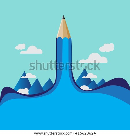 Pencil education designs concept with blank for text - stock vector