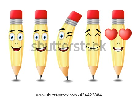 Pencil Emoticons with Five Different Facial Expressions Isolated in White Background. Vector Illustration  - stock vector