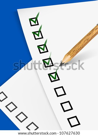 Pencil filling up the questionnaire on white paper - vector illustration - stock vector