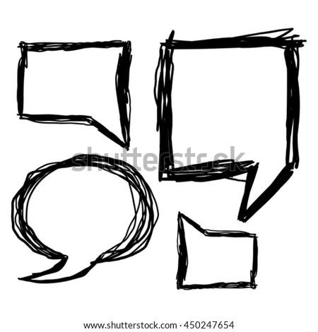 Pencil Hand Drawn Speech Bubble Set Vector Illustration  - stock vector