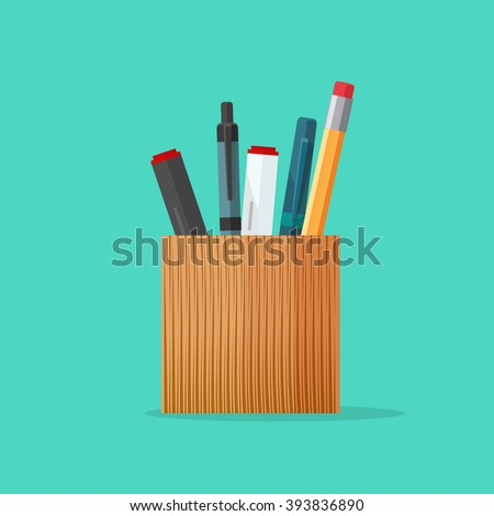 Pencil holder, pen holder,  wooden pencil and marker cup, pen case vector illustration, stationery set flat modern cartoon design isolated on green background - stock vector