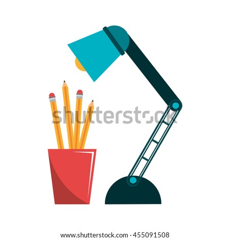 pencil holders with lamp isolated icon design, vector illustration