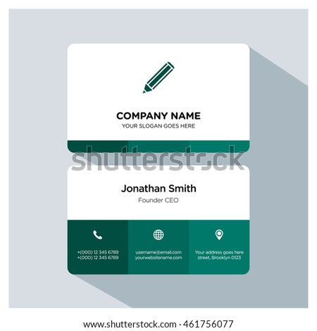 Pencil icon. Business card template