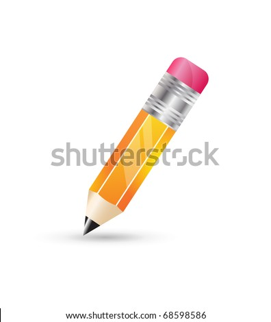 pencil icon on white background - stock vector