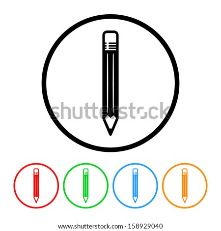 Pencil Icon with Color Variations - stock vector