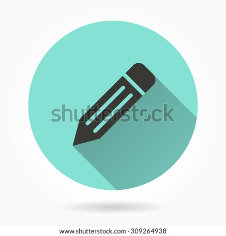 Pencil  icon with long shadow, flat design. Vector illustration. - stock vector