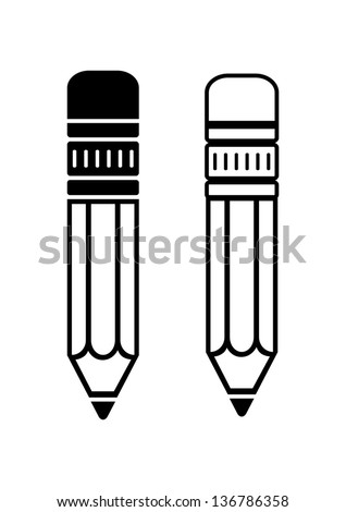 Pencil icons - stock vector