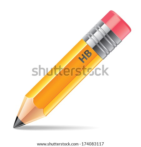 Pencil isolated on white photo-realistic vector illustration
