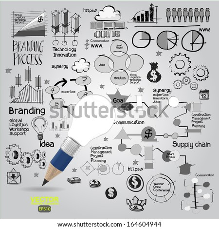 pencil light bulb and hand drawn business strategy as concept ,vector - stock vector