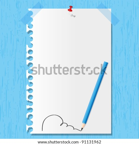 Pencil line and paper sheet on wooden backgrounds. - stock vector