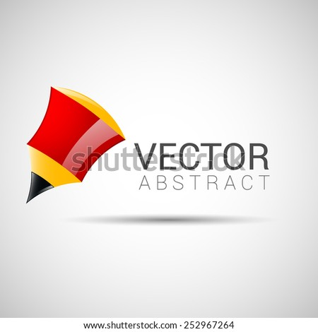 pencil outline thin symbol, red on gray background, logo editable, creative template - stock vector
