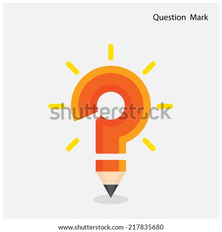 Pencil question mark on background. Education concept. Vector illustration - stock vector