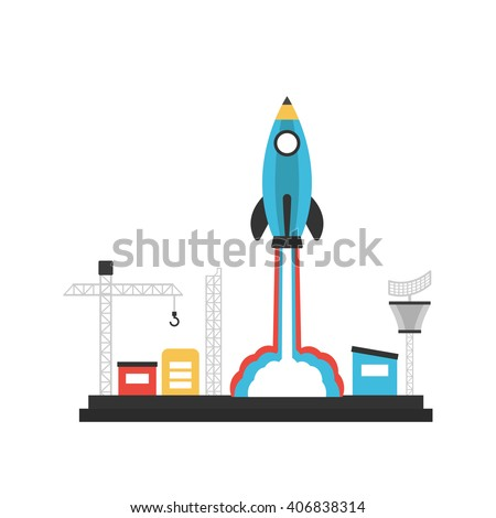 pencil rocket launch to sky from base, innovation concept, isolated on white background - stock vector