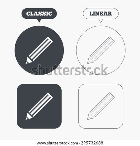 Pencil sign icon. Edit content button. Classic and line web buttons. Circles and squares. Vector - stock vector
