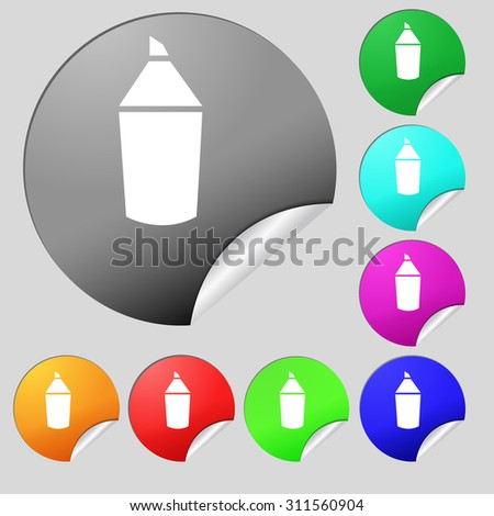 Pencil sign icon. Edit content button. Set of eight multi colored round buttons, stickers. Vector illustration