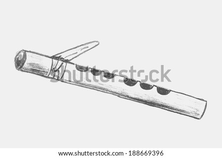 Pencil Sketch Bamboo Flute Stock Vector Royalty Free 188669396