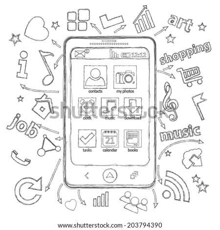 Pencil sketch. Mobile phone application and the set of vector icons. Illustration can be used in web design, cards, infographics, computer design - stock vector