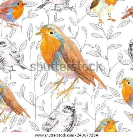 pencil sketch seamless pattern with bird robin and sparrow - stock vector