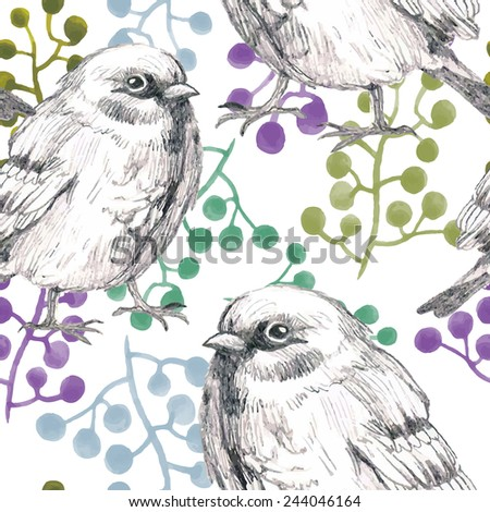 pencil sketch watercolor seamless pattern with leafs flower and  bird sparrow - stock vector