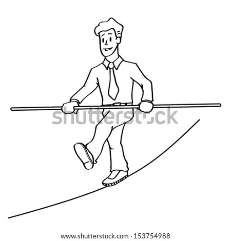 Pencil vector drawing as illustraion of risks and challenges inbusiness. Tightrope circus cartoon. - stock vector
