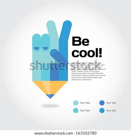 Pencil with cool gesture symbolizing ideas with place for text - stock vector