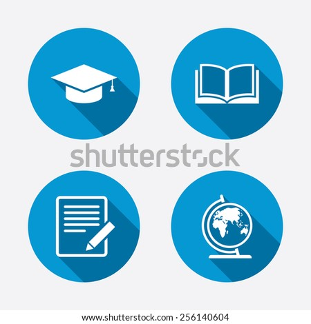 Pencil with document and open book icons. Graduation cap and geography globe symbols. Learn signs. Circle concept web buttons. Vector - stock vector