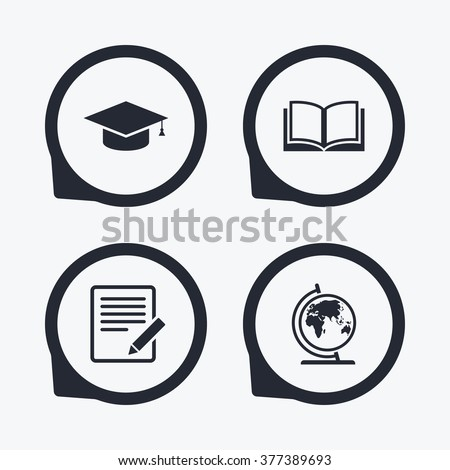 Pencil Document Open Book Icons Graduation Stock Vector 377389693
