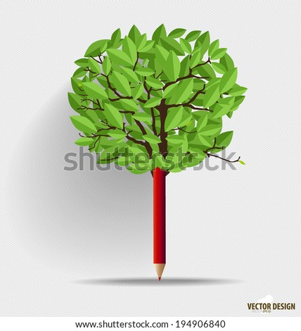 Pencil with leaf. Vector illustration. - stock vector
