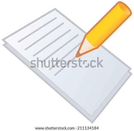 Pencil with notepad or document - stock vector