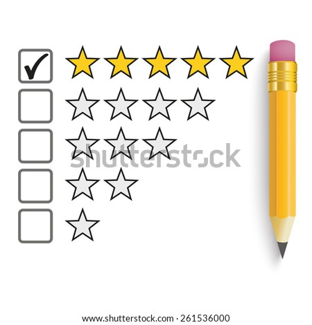 Pencil with rating stars on the white. Eps 10 vector file. - stock vector
