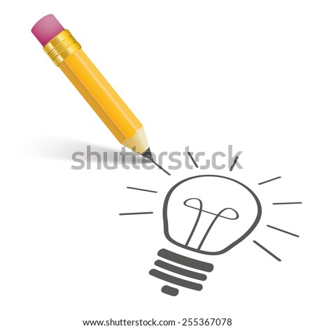 Pencil with shadow and bulb on the white. Eps 10 vector file.