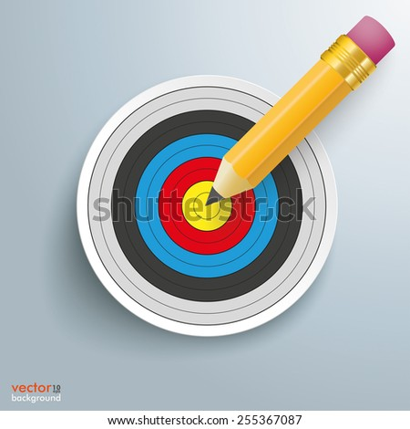 Pencil with target on the gray background. Eps 10 vector file.