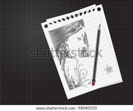 Pencil woman - stock vector