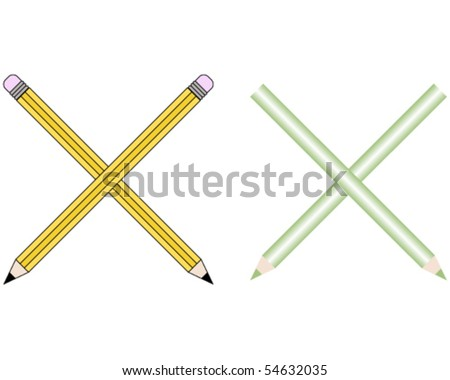 Pencils and Colored Pencils Font Set Letter X - stock vector