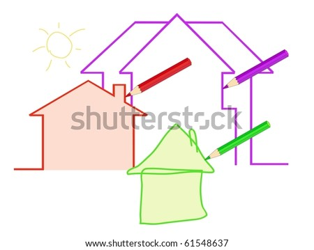 pencils draw different houses - stock vector