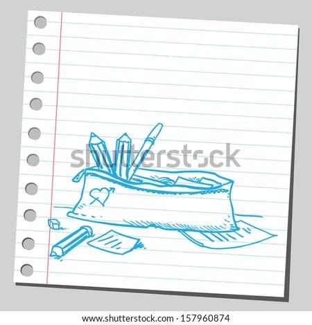 Pencils in pencil case - stock vector