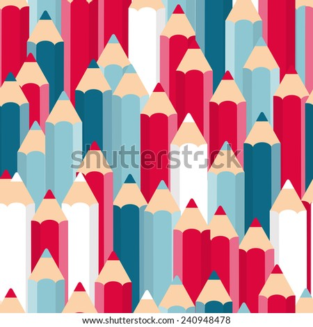 Pencils Seamless Pattern Background Vector Illustration