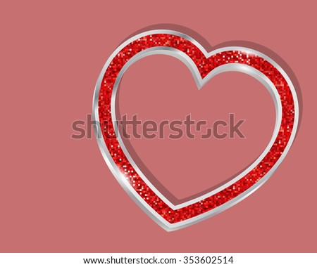 Pendant heart in a frame on a colored background  - stock vector