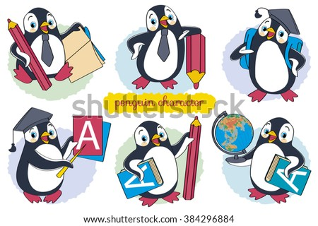 Penguin, Cartoon, Fun, Cute, Book, Set, EducationSeparate layers of objects and background for easy editing.Illustration done in cartoon style - stock vector
