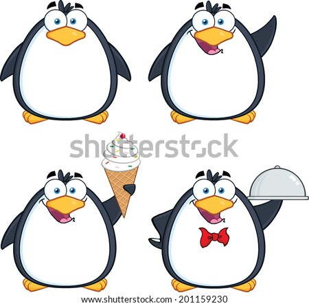 Penguin Cartoon Mascot Character Poses 9. Vector Collection Set - stock vector