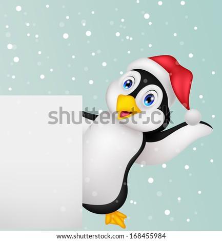 Penguin cartoon with blank sign - stock vector