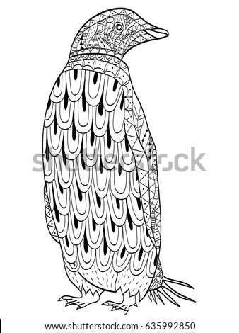 Penguin Coloring Book Vector Illustration Antistress Stock Vector ...