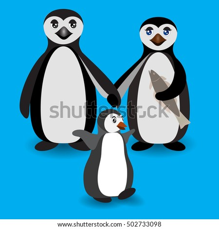 Cartoon penguins holding hands - photo#47