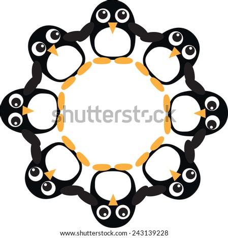 Penguin frame  - stock vector
