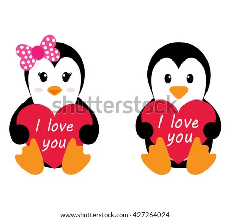 penguin girl and boy with heart vector - stock vector